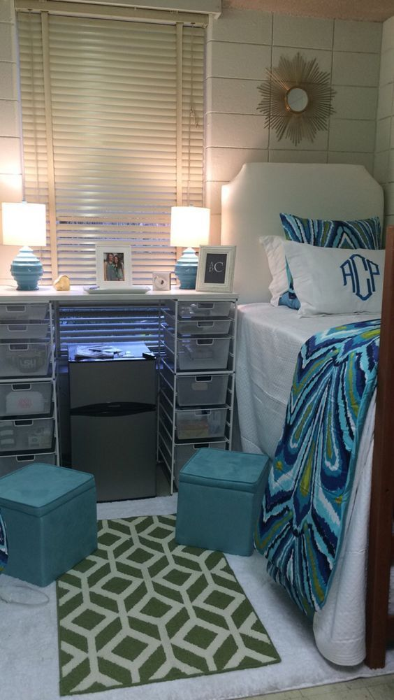 College dorm room: I want something like this in between our beds with the microwave on top of the fridge and keurig on top of the table, centered!