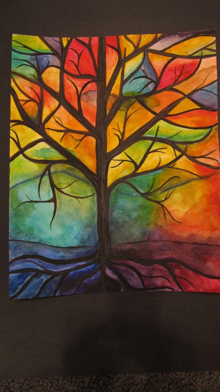 Aquarelle, arbre.