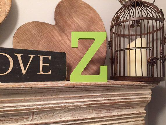 Hand geschilderde houten Letter Z - vrijstaande - Rockwell lettertype - verschillende maten, afwerkingen en kleuren