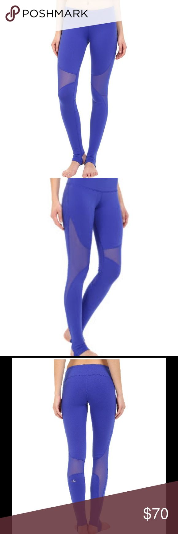 Alo Coast Legging - Blue The Coast Legging offers secure coverage with stirrup foot detail, smooth seams and contemporary mesh blocking at side of leg and knee area. Twists and inversions don't stand a chance against it. Worn once. Excellent condition. ALO Yoga Pants Leggings
