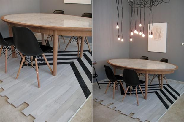 Una opción para usar un tradicional piso de madera flotante. Aquí, intervenido con líneas que le dan cierto movimiento. Sirve para sectorizar el comedo o armar un respaldar diferente sobre la pared detrás de la cama.