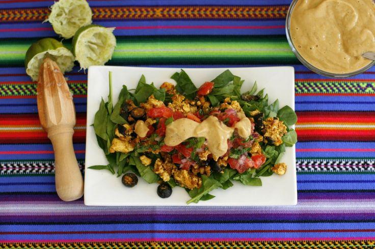 Vegan Taco Salad with Fresh Tomato Salsa and Avocado Dressing