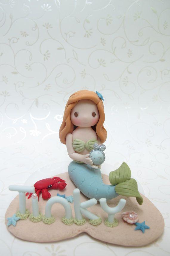 Handmade Little Mermaid Figurine for birthday by claydoughandme