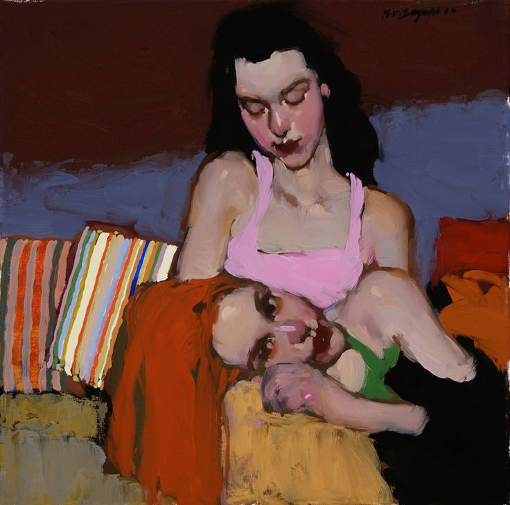 two sisters • milt kobayashi - I like the dark outline  - I wonder if the shapes are painted black before the image is painted over?