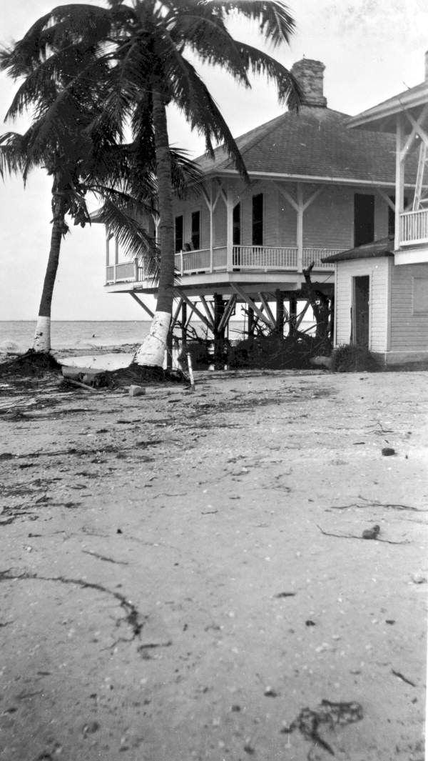 1947, Lighthouse keeper's residence shown after the hurricane - Sanibel Island, Florida. Via- State Archives of Florida, Florida Memory