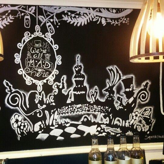 Alice in wonderland chalk mural
