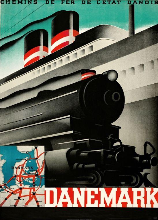 Poster by Sven Henriksen, 1934, Danemark, Chemins de fer de l'état Danois.