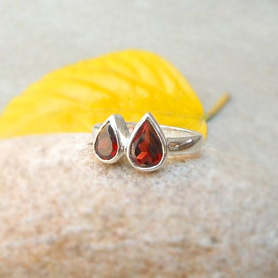 You & Me Ring Sterling Silver Garnet Gemstone by FineSilverStudio