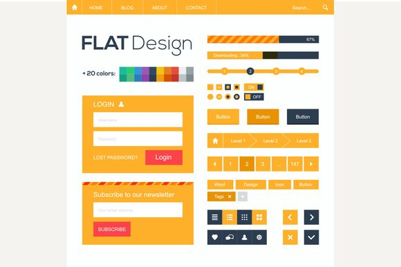 Flat web and mobile design elements by kanva777 on @creativemarket