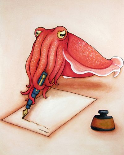 """Dear Cuttlefish, 2010 by Heather LeMay (~LeMayhem, US) :""""Did you know the historical Artist's sepia ink was originally made from ink of the Cuttlefish? It came into use in the 18th century and was quite popular by the 19th century. The ink takes it's name from the Cuttlefish species Sepia officinalis. Maybe he's requesting more recognition! Originally painted in gouache and watercolour."""""""