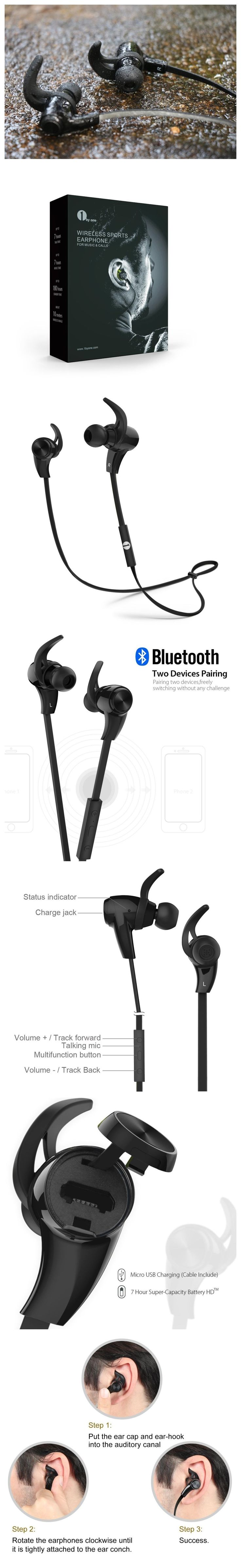 Only $26.96,1byone Bluetooth 4.1 Wireless In-Ear Headphones, Sports Earphones with HD Stereo Sound & Modern, Sweat-Proof and Ergonomic Design, Black