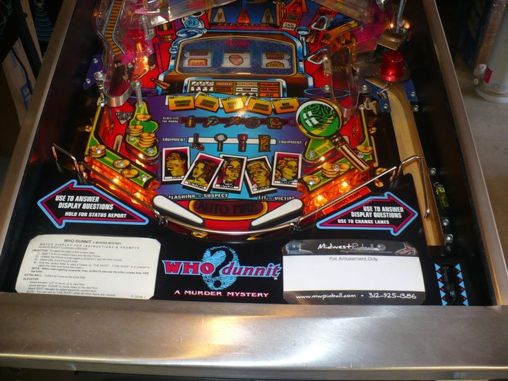 Excellent Refinished Games from Midwest Pinball   WHO Dunnit - Lower PF http://mwpinball.com/pinball-machines-for-sale/