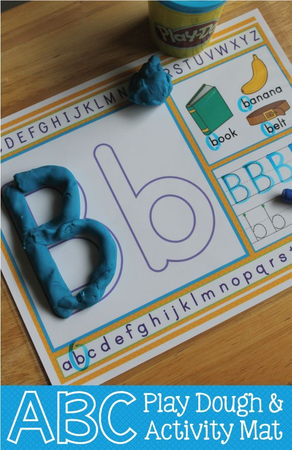ABC play dough mats for preschool and pre-k.  I love these because kids can build the letters with playdough, find the letter in the alphabet line, find the letter/practice the sounds with the pictured objects, trace the letter, and write the letter.  Soooo many ways to experience each letter.