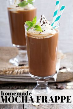 If you need a homemade mocha frappe recipe, look no further. This sweet coffee drink recipe is one that we make ALL the time! We share sugar-free mocha frappe variations, along with low calorie coffee drink options. My favorite part is making our mocha frappe recipes in batches. Prepare it once, and make enough to enjoy the entire week! We'll tell you how! www.sweetpenniesfromheaven.com