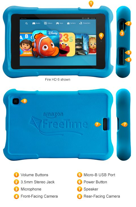 Amazon Kids Kindle Fire HD. Unlimited Amazon FreeTime educational kids books, games, apps, movies and TV shows. Fire HD Kids Edition Tablet video review. 2014