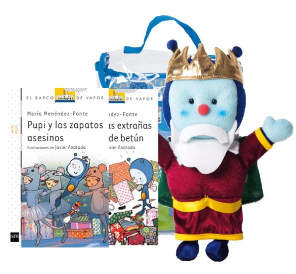 """Este nuevo Pupipack contiene dos libros: """"Pupi y los zapatos asesinos"""" y """"Pupi y las extrañas huellas de betún"""". Contiene un muñeco de Pupi disfrazado de rey mago."""