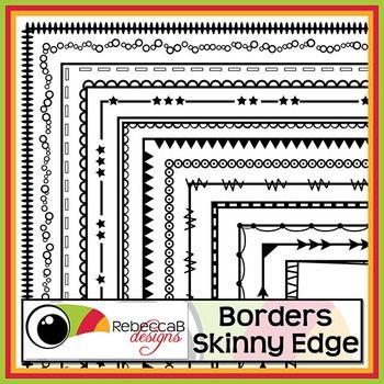 Borders Skinny Edge contains 20 different doodled borders, white fill and transparent of each and will fit nicely on U.S. Letter with a half inch margin.  There are a total of 40 Borders in this set and they can be reduced or increased in size easily.