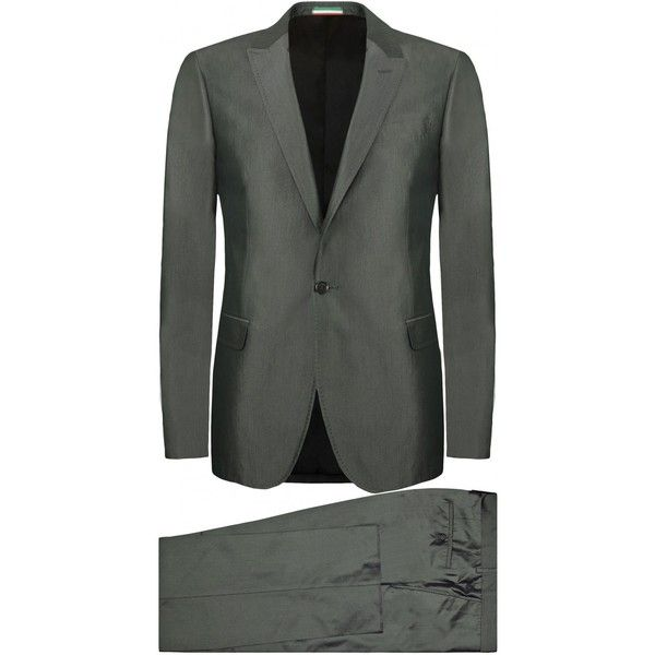 Moschino Shiny Grey Two-Piece Silk Suit ($1,010) ❤ liked on Polyvore featuring suits