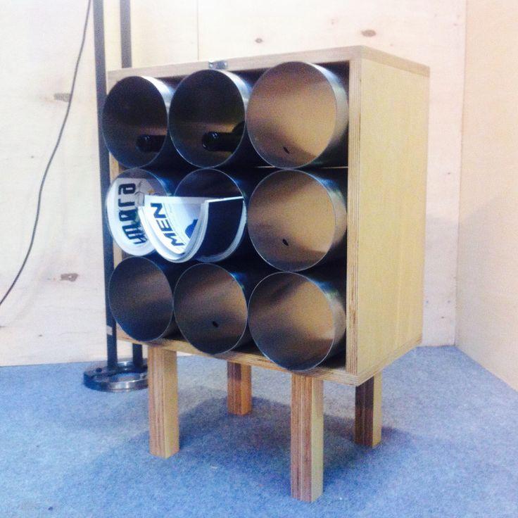 Steel pipe wine & newspapers rack