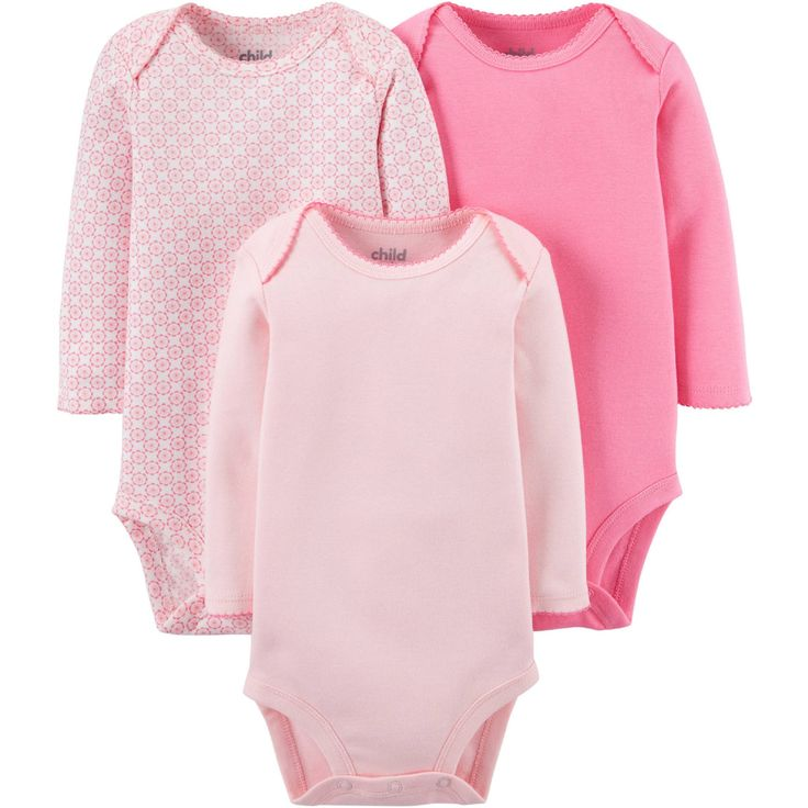 Child Of Mine Made By Carter's Baby Girls' Long Sleeve Bodysuits (Pink). Carters Girls Bodysuits 3 pack. Child of Mine.