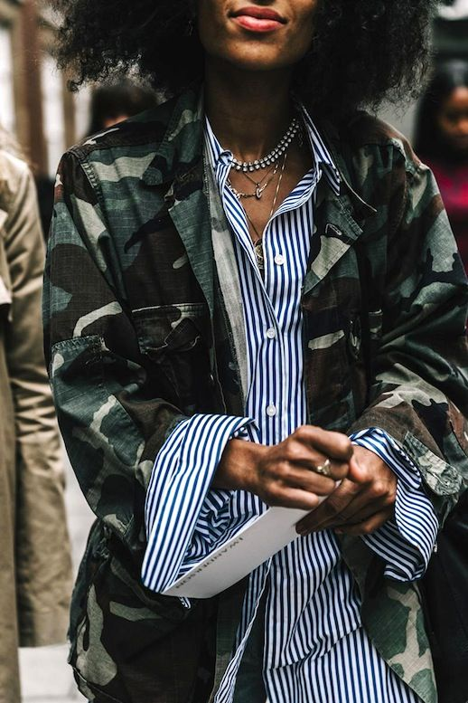 Try This Fresh Camo Print And Stripes Mix For Fall | Le Fashion | Bloglovin'