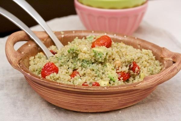 Quinoa with Roasted Tomatoes, Avocado and Pesto from Big Girls Small Kitchen: Roasted Tomatoes, Food, Avocado, Summer Salad, Pesto Recipe, Quinoa, Small Kitchen, Healthy Recipes