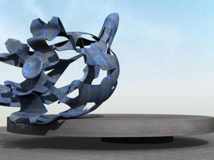 Asten, het kunstwerk stelt een klokjesbloem voor en is precies 2 jaar geleden onthuld. 'De bloem verwijst naar de benaming van het tegenoverliggend...
