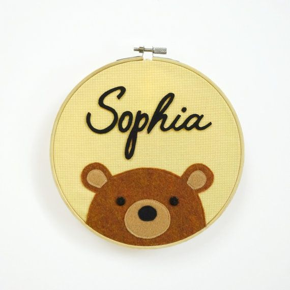 Personalized Baby Bear Door Hanger by mypipsqueak on Etsy