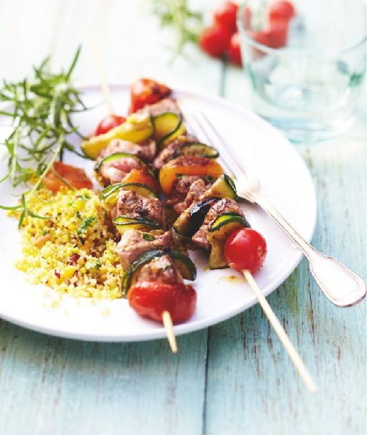 Recette : #brochettes de mignon de #porc comme un #tajine aux fruits secs.