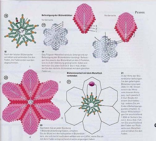 Цветы из бисера схема фото