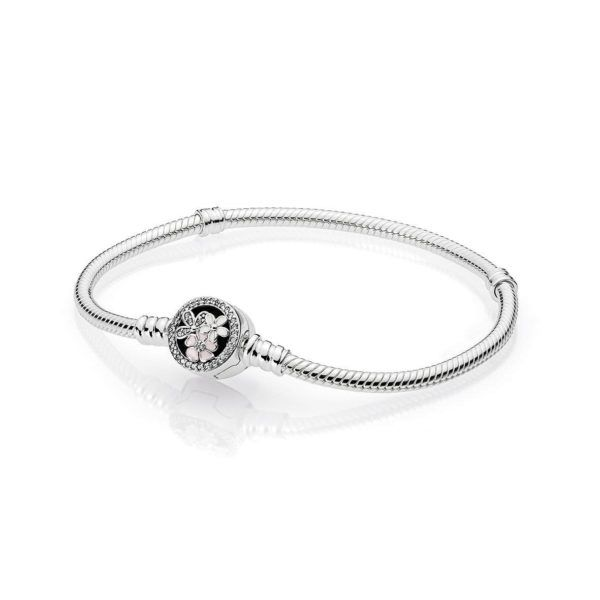 Moments Silver Bracelet Poetic Blooms Clasp | PANDORA,  PANDORA Poetic Blooms Bracelet in sterling silver snake chain design with 4 bead-set clear cubic zirconia, 72 micro bead-set clear cubic zirconia, white and soft pink enamel in floral clasp.  Please note, 16cm or 17cm bracelets are very petite bracelets. Our experience is that many customers who order these sizes find it necessary to exchange their bracelet for a larger size, CA$82.98 7% OFF, Buy Now: http://www.pandoracanada201..