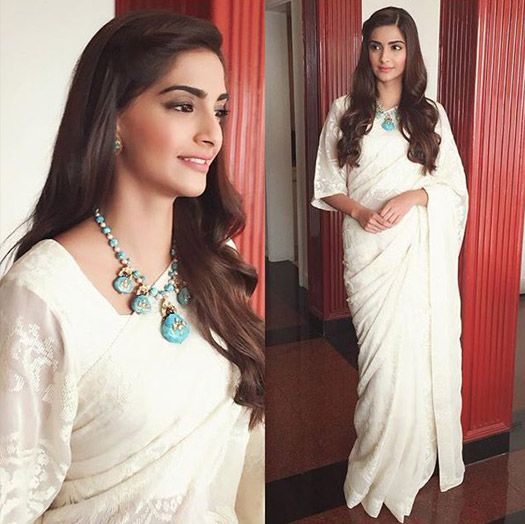 Sonam Kapoor in White Embroidery Saree At Prem Ratan Dhan Payo Promotions