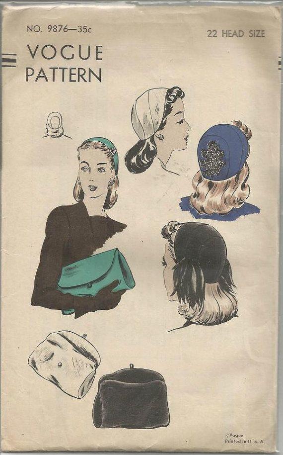 Vogue 9876 ca. 1943; HUT UND TASCHE; Sektionaltore Calot mit Pailletten oder Feder-Motiv. Umschlag-Tasche mit abknöpfbarer Klappe.  Stoff-Handtaschen