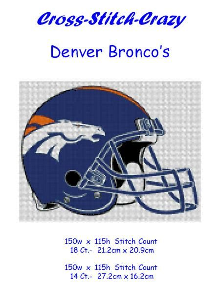NFL Denver Broncos Helmet Design Cross Stitch Chart Pattern. Cross-Stitch-Crazy, The site for hundreds of 14 and 18 count cross stitch charts