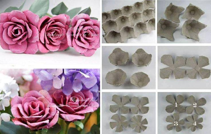 fleurs a partir d 39 une boite d 39 oeuf bricolage pinterest. Black Bedroom Furniture Sets. Home Design Ideas