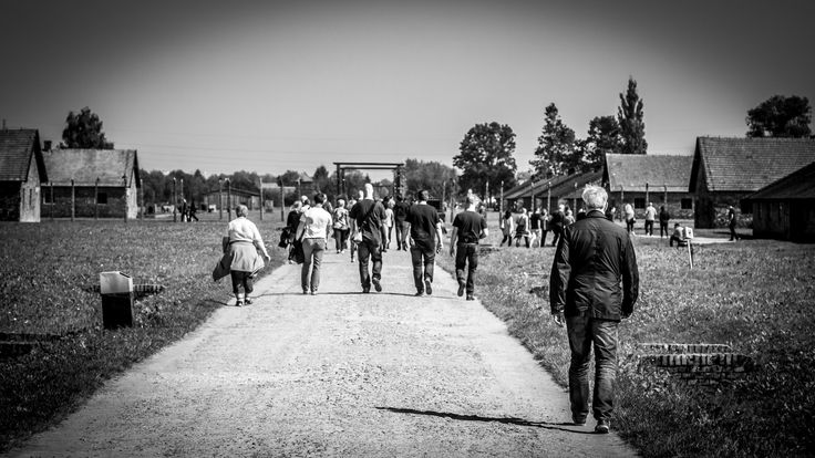 Visitors at Birkenau