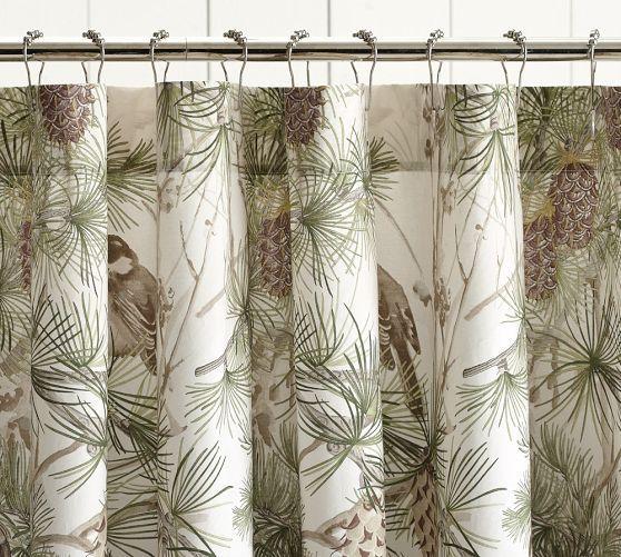 Snow Pine Bird Shower Curtain Pottery Barn Bathroom