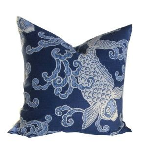 Crisp Blue and white pattern 100% Cotton Kravet Banku Blue Pillow Cover, with Koi motif