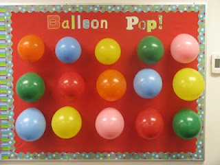 "End of school year ""Balloon Pop""  Use just like a carnival game and each balloon has a different fun activity inside!"