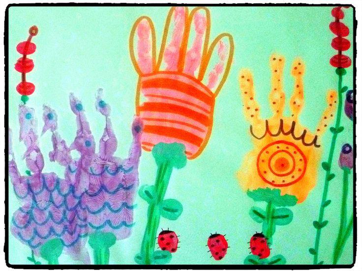 fleurs, été, printemps, empreintes de mains, peinture, bricolage, enfant