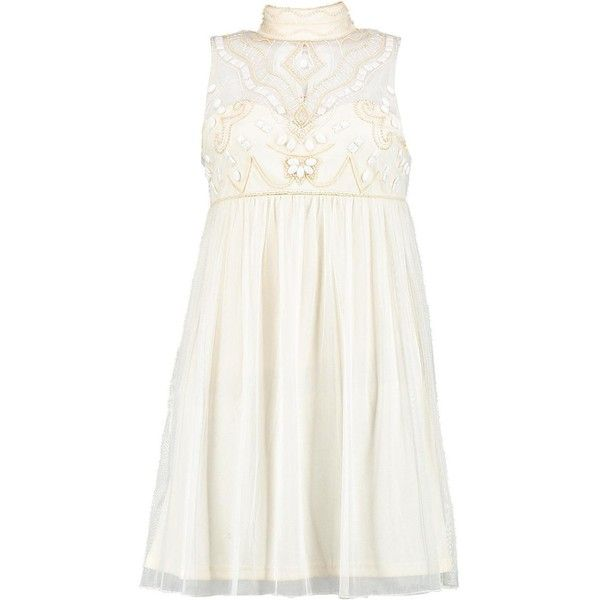 Boohoo Boutique Aida Beaded High Neck Babydoll Dress ($22) ❤ liked on Polyvore featuring dresses, white beaded dress, white baby doll dresses, beading dress, white day dress and beaded dress
