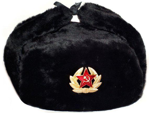 Ushanka Hat Black Fur Winter Authentic Russian Ussr Military Etsy In 2021 Ushanka Ushanka Hat Star Badge