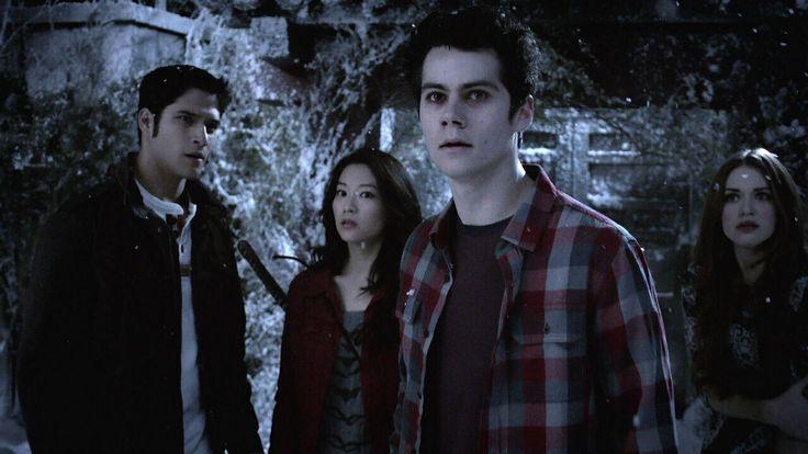 Teen Wolf - Scott (Tyler Posey), Kira (Arden Cho), Stiles (Dylan O'Brien), & Lydia (Holland Roden) waiting to battle the Oni (Evil Ninjas)... Lol