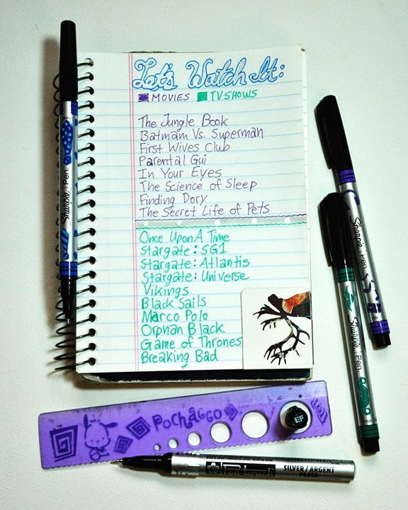 Movie List: Then Jungle Book  Batman Bs. Superman  First Wives Club  Parental Guidance (forgot to finish writing that oops ) In Your Eyes  The Science of Sleep  Finding Dory . . TV Shows List:  Once Upon A Time  Stargaze: SG1; Atlantis; and Universe  Vikings Black Sails  Marco Polo  Orphan Black  Game of Thrones  Breaking Bad  #rockyourhandwriting #heartisancreations #rockyourhandwritingday7 #movies #movielist #moviestowatch #mybujo #bujo #bulletjournal #minimalistbulletjournal…