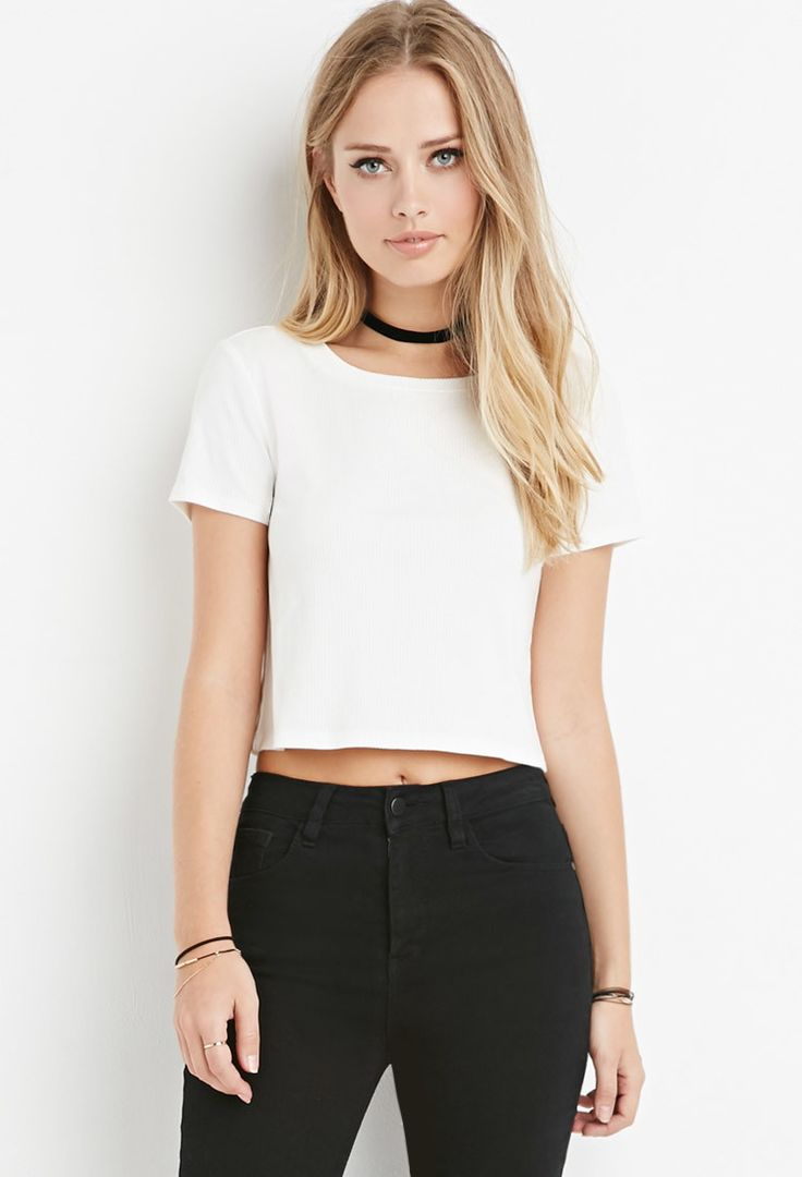 white ribbed knitted crop top