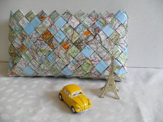 Candy wrapper purse made from vintage maps. Great coin purse, pencilcase, make-up purse.