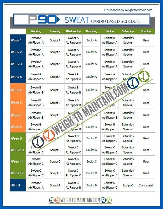 Printable P90 Schedule PDF - rock the new Beachbody DVD program P90 with these printable workout calendars.  #P90 #TonyHorton #Beachbody