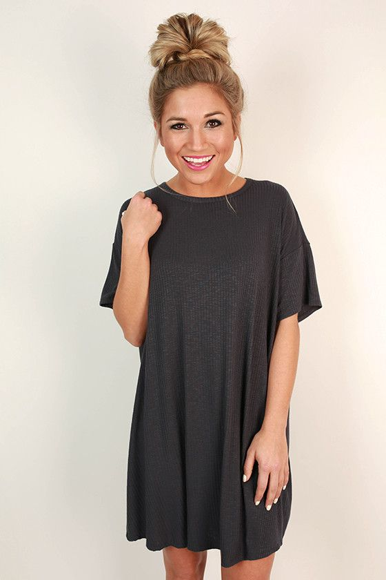 Lazy Sunday T-Shirt Dress in Slate