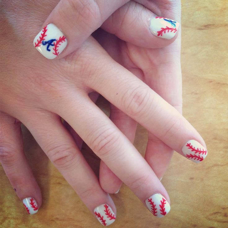 Atlanta braves baseball nails
