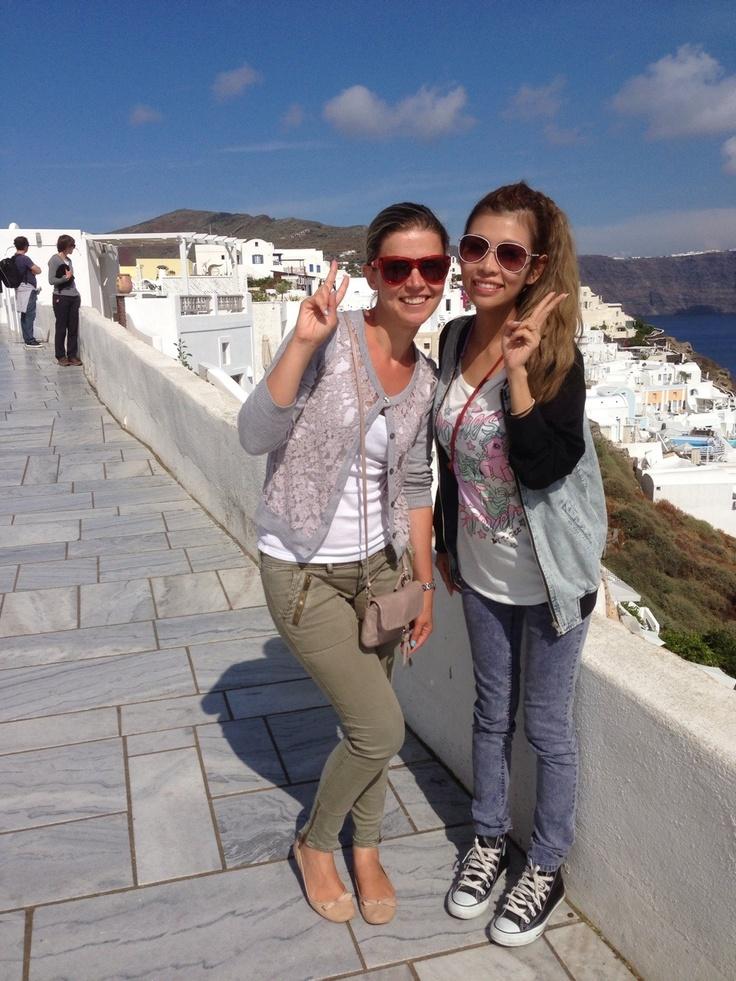 Cheesie and Amie sightseeing in Oia! @Sunrise Greece